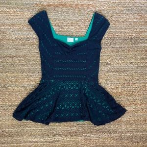 9-H15 STCL Navy and Green Peplum Top